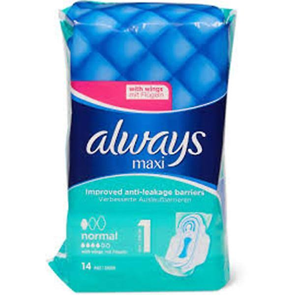 Always Maxi Sanitary Napkins - Normal, With Wings, 14ct