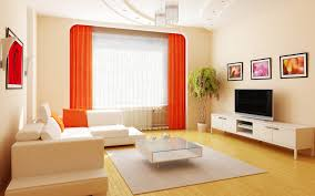 Small Simple Modern Apartment Living Room Remodeling Decorating With Smooth Edge Window Partition Orange Curtain Minimalist Leather Sofa White Low TV
