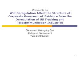 100 Trucking Deregulation PPT Discussant Hsiangping Tsai College Of Management Yuan