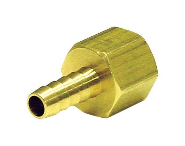 "JMF Hose Barb - Yellow Brass, 1/4"" x 3/8"""
