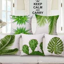 24 X 24 Patio Cushion Covers by Summer Green Leaves Cushion Covers Tropical Plants Monstera Cactus