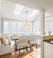Window Seat With Storage Dining Table And Upholstered Chairs Space Saving Kitchen Nook Design Idea