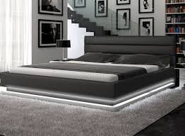 Contemporary Black Leather Platform Bed with Lights Contemporary