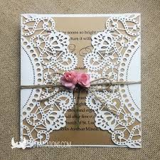 Rustic Gate Fold Laser Cut Wedding Invitations With Paper Rose