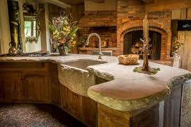 rustic kitchen gray high ceiling l shaped peninsula limestone tile