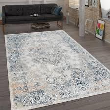 teppich orient design flachgewebe wohnzimmer blau