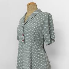 celadon polka dot short sleeve vintage dress french rayon crepe