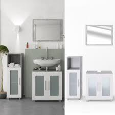badmöbel set rayk grau weiß badezimmer spiegel waschtisch unterschrank badschrank midischrank