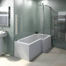 the tiles and small screen on plum shower bath l