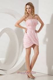 baby pink straps shell shaped cocktail dress column empire short