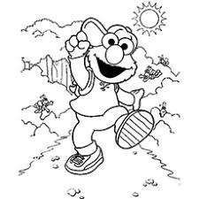 Elmo Walking Through Nature During Sunny Day Coloring Pages
