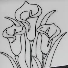 Framed Original 2D Wire Callas Flower Artwork