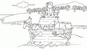 A Simple Drawing Of Noahs Ark Children Coloring Page Free With Intended