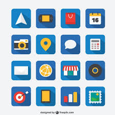 Flat icon set for Web and Mobile App Vector