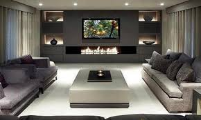 Sleek White Indoor Fire Pit Coffee Table With Stylish Recessed Lighting And Grey Sectional Sofa For Luxury Living Room Ideas