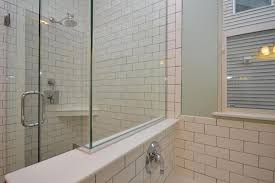 traditional master bathroom with shower high ceiling