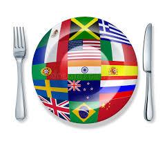 best international cuisine international food fork plate knife isolated stock