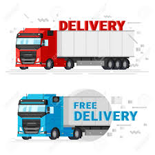 100 Delivery Trucks Two Flat Design Vector Illustration Fast Free
