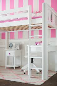 straight ladder for a white high loft bed with desk and nightstand