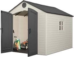 lifetime 15x8 plastic garden storage shed kit with floor 6446