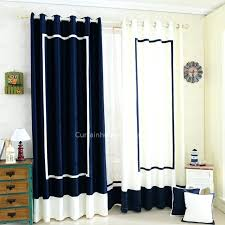Navy Blue And White Stitching Nautical Style Chenille Room Darkening Curtain Curtains For Peacock Living Darkeni Grey