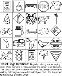 Travel Bingo Board 3 Coloring Page