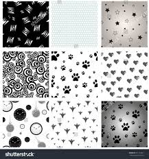 Dog Paw Print Pumpkin Stencils by Set 9 Mixed Seamless Patterns Dog Stock Vector 511123261