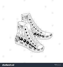 Stock Vector Hippie Sneakers Style Coloring Book Page Adult Anti Stress Sneaker App Nike Jordan