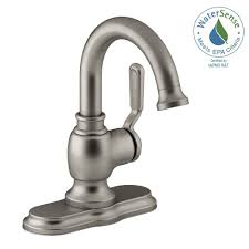 Brushed Nickel Bathroom Faucets Home Depot by Kohler Worth Single Hole 1 Handle Bathroom Faucet In Vibrant