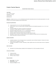 Resume For Freshers Sample Applying Teacher Art In Fresher