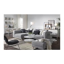 nockeby sofa left tenö light gray with chaise chrome plated ikea