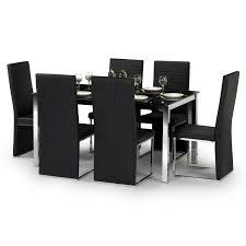 Ebay Home Decor Uk by Tempo Dining Table Set W150cm Black Glass U0026 Chrome 6 Faux