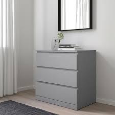 malm kommode mit 3 schubladen grau lasiert 80x78 cm