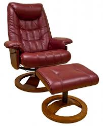 Furniture Mayfair Real Leather Swivel Recliner Chair Stool In