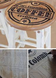 Upstyle Old Kitchen Stools With Coffee Designs