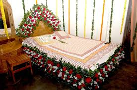 Bedroom Wedding Room Decorations With Flower Carving Bed