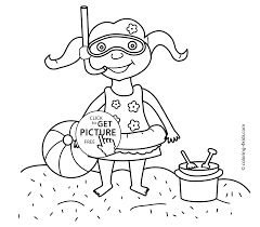 Summer Coloring Pages With Girl For Kids Seasons Printable Free