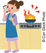 Stove Fire Vector Clipart And Illustrations 2433