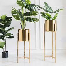 nordic luxus galvanik goldene blume pflanze ständer wohnzimmer hotel lobby grün pflanzen blumentopf