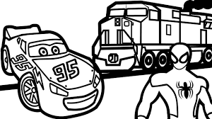 Lightning Mcqueen Vs Train And Spiderman Coloring Pages For Kids Book Fun Art