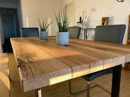 esszimmertisch tisch eiche massiv altholz mit gestell 1 8x1 0m