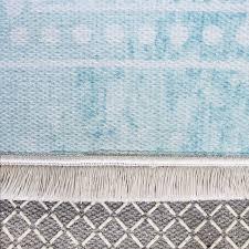 80x150 cm teppich waschbar türkis shabby chic design medaillon my1300t