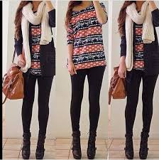 Shirt Winter Outfits Sweater Print Jacket Pullover Vintage Cute Red Blue White Leggings High Heels Black