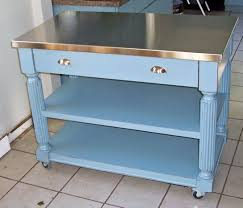 Decoration Momentous Kitchen Island Cart Stainless Steel Top With Distressed Blue Paint Colors Also Heavy Duty