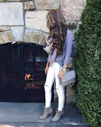 Knotted Tee Similar HERE White Pants Plaid Infinity Scarf Vince Camuto Booties Goodnight Macaroon Handbag