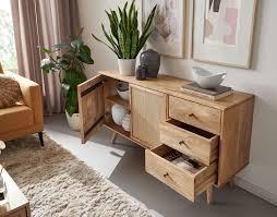 wohnling design sideboard 140x75x40 cm mango massivholz kommode 3 schubladen hoher kommodenschrank holz massiv standschrank wohnzimmer 2
