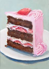Slice Chocolate Cake With Pink Frosting Original Painting Still Life Home Wall Decor Food Painting