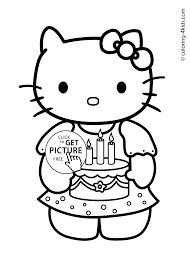 Hello Kitty Happy Birthday Coloring Pages For Kids Printables And
