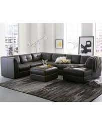 Fabrina 6 Pc Leather Modular with Chaise & Ottoman Created for