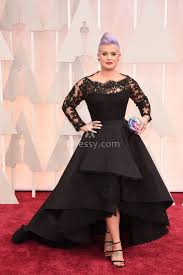 Kelly Osbourne Vintage Black Lace And Satin High Low Prom Dress Oscars 2015
